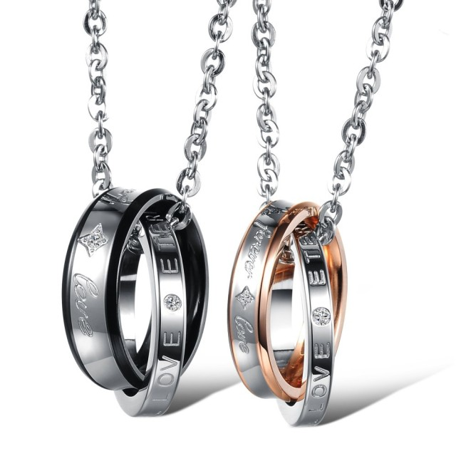 Couple Necklace Set Retro Design FOREVER LOVE