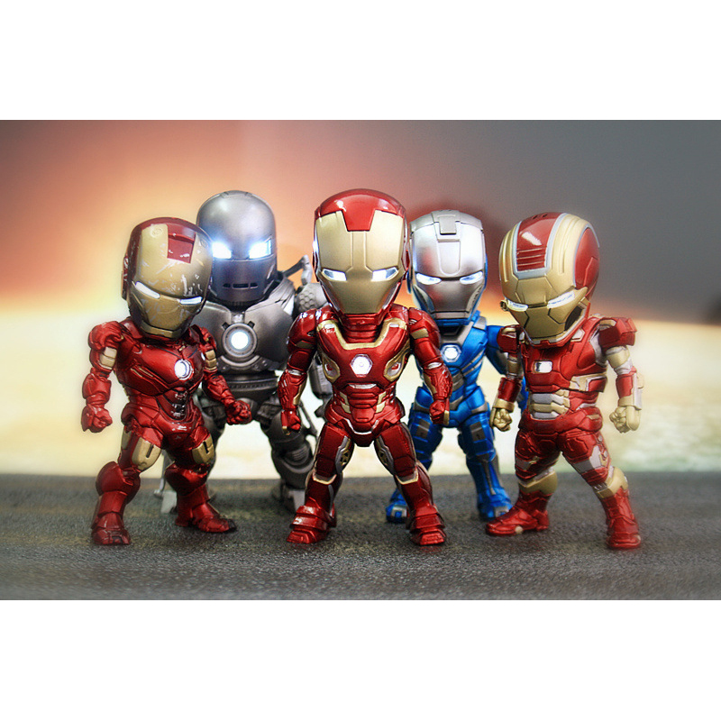 XINDUPLAN Marvel Shield 5Pcs iron Man Movie Avengers Civil War Ironman Light Action Figure Toys 9cm Kids Collection Model 0981 xinduplan marvel shield iron man avengers age of ultron mk45 limited edition human face movable action figure 30cm model 0778