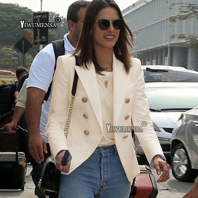 Ladies Beige Blazer Long Sleeve Blaser 2018 Women Suit jacket Female  Feminine Blazer Femme Pink Blue White Black Blazer Autumn 8977b41ce66c