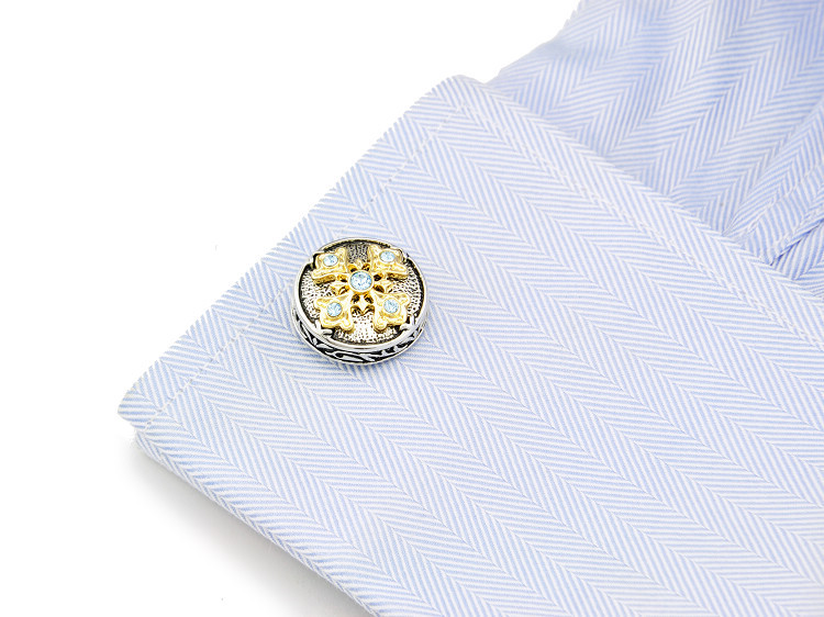 SPARTA Troy Epic White Gold Electroplated Austria Crystal Cufflinks men's Cuff Links + Free Shipping !!! metal buttons