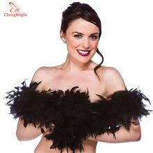 ChengBright красивые 2 фотоэлемента, черные натуральные перья индейки, боа, костюмы/отделка вечерние костюма/шаль/ремесло, индейка, шлейф, косплей