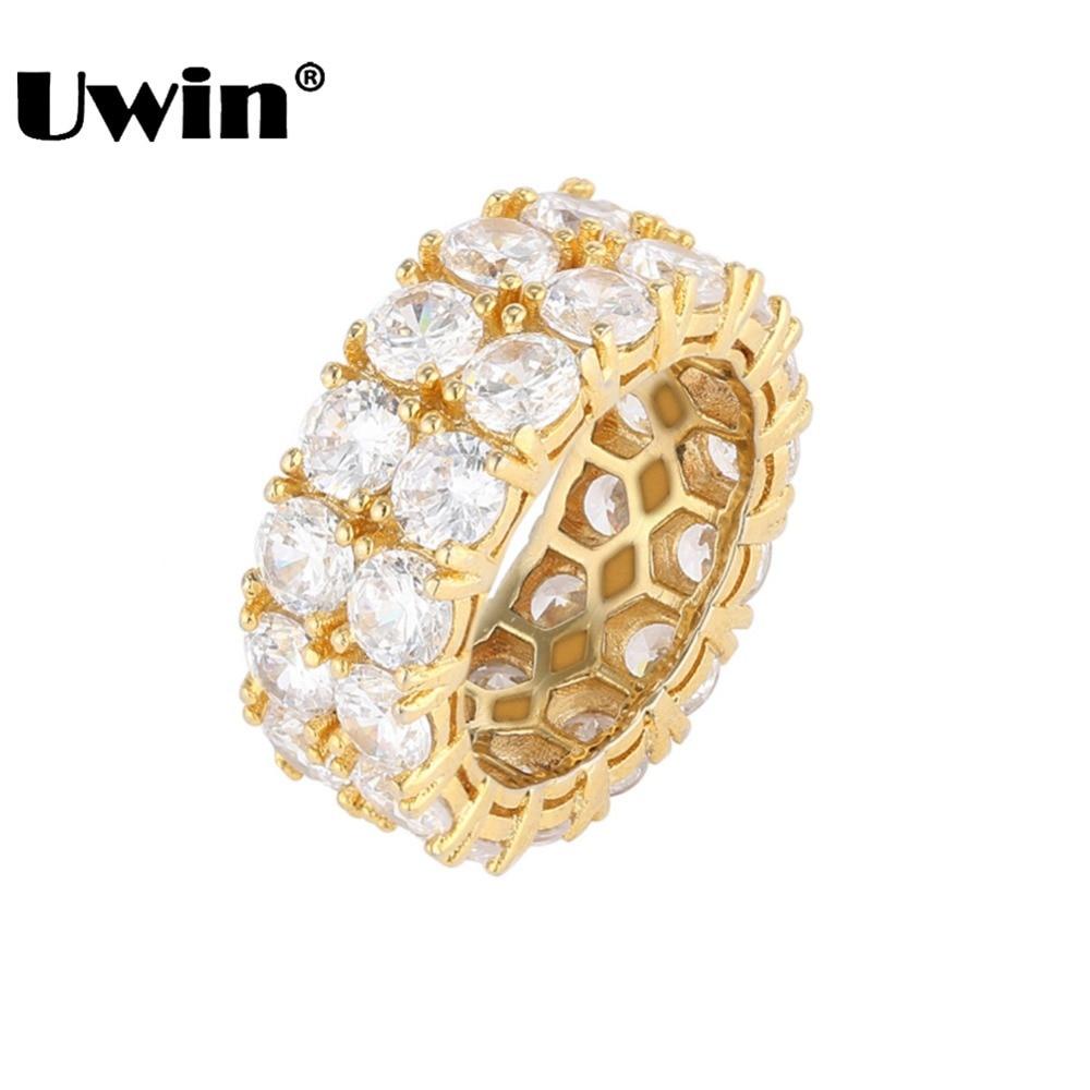 Uwin anillo de boda mujeres/hombres completo helado Cubic Zirconia Micro Pave 2 fila Bling CZ moda joyería regalo del Día de San Valentín