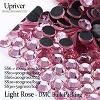 Đóng Gói số lượng lớn Chất Lượng Tốt Nhất Shiny Glass Bán Buôn Kích Thước SS6 SS10 SS16 SS20 SS30 Nhẹ Rose Hotfix Thạch
