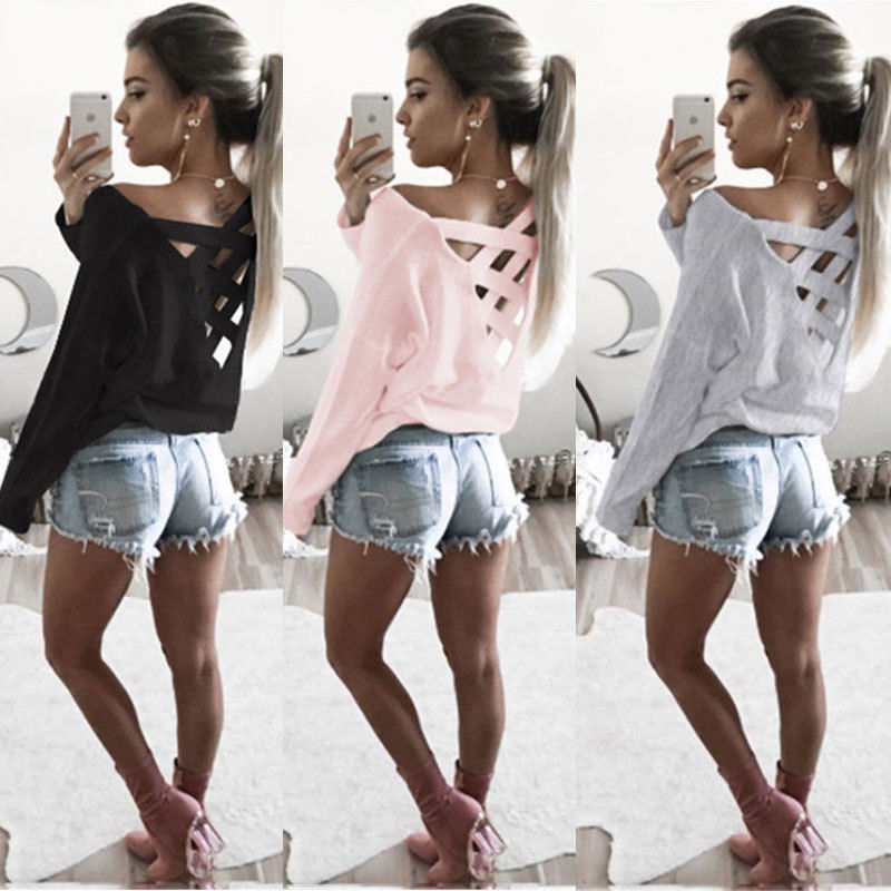 New Women's Loose Long Sleeve Top, Summer Back Cross T-Shirt, Casual, Cotton T-Shirt 2
