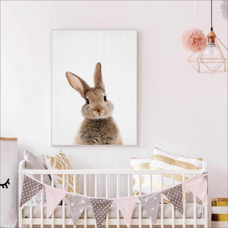 Bunny Rabbit Tail Canvas Painting Nursery Wall Art Animal Poster And Print Nordic Woodland Picture For Baby Kids Room Home Decor