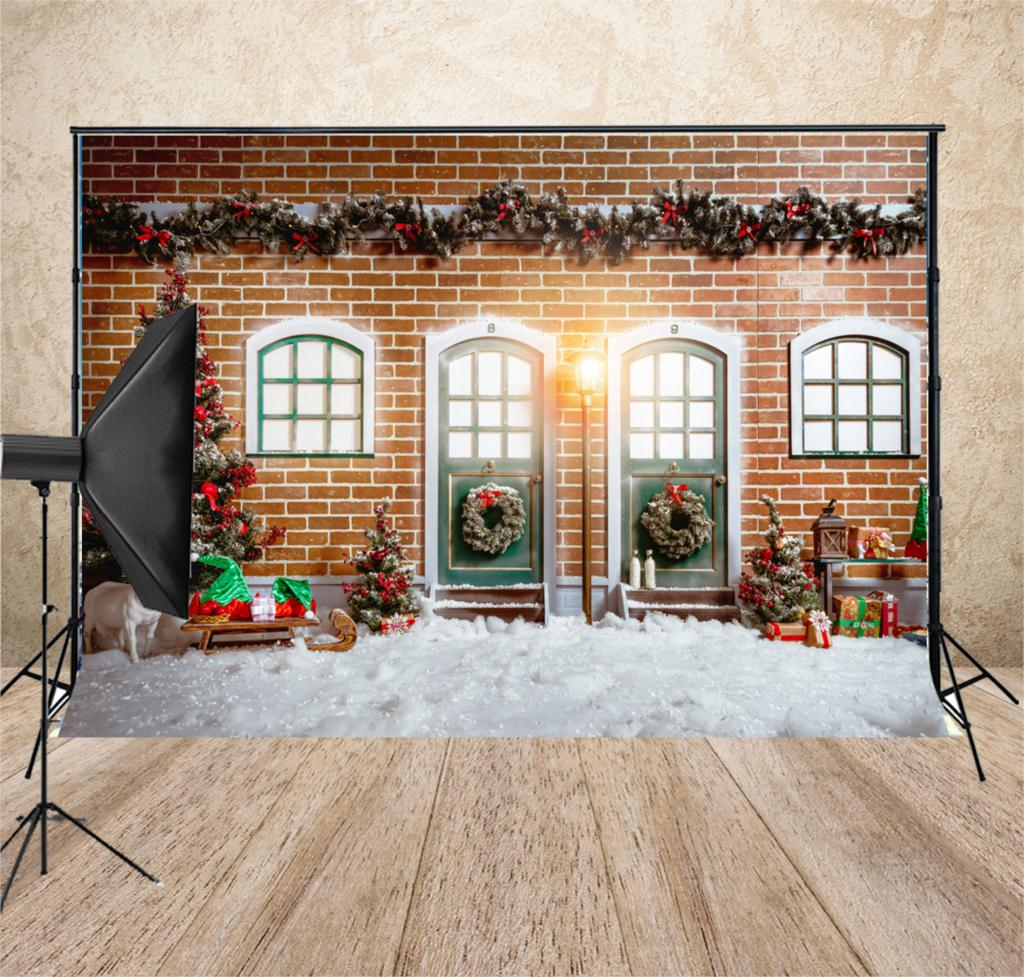 How To Store Christmas Village Houses.Us 7 2 28 Off Christmas Village Houses Christmas Tree Photo Backdrop Christmas Door Backdrops Snow Floor Photography Background Studio Xt 7304 In