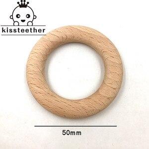 Image 5 - 50mm natura buk drewniany pierścień gryzak dziecko gryzak koraliki drewniane niemowlęta ząbkowanie produkt do pielęgnacji DIY drewniane gryzaki naszyjnik