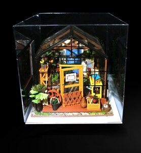 Image 3 - Robotime شفاف غطاء غبار صندوق عرض ل بيت الدمية 3 مللي متر سماكة لوح أكريليك لعرض غرفة الغبار منع برهان DG01Z