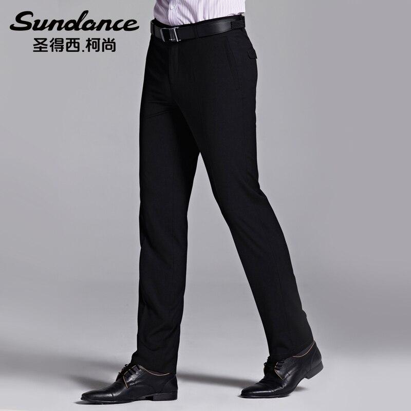 сандэнс весна-мужчин кид свободного покроя западного стиля брюки тонкий особого ухода прямые брюки костюм черный мода бизнес-формальная брюки