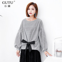 GUTU 2017 Autumn New Korean Long Lantern Sleeves Round Collar Vertical Stripes Bow Tie Pullover