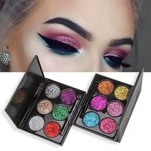 1SET 6 Colors Diamond Glitter Eye Shadow Palette Shimmer Sequins Eyeshadow Pigment Cosmetics