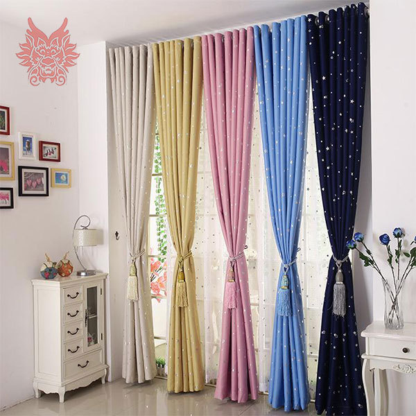 Multi Color Finished Window Screening Hot Silver Star Print Sheer