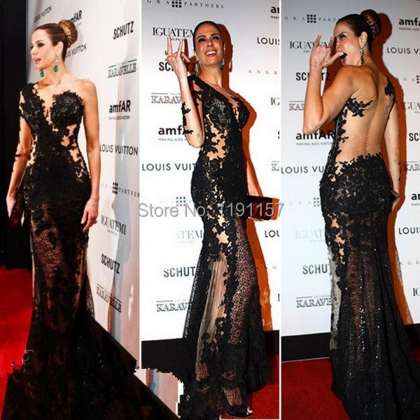 Red Carpet Black Mermaid Floor-Length Appliques Lace V-neck One-Shoulder Sexy Backless Prom Evening dresses New 2014