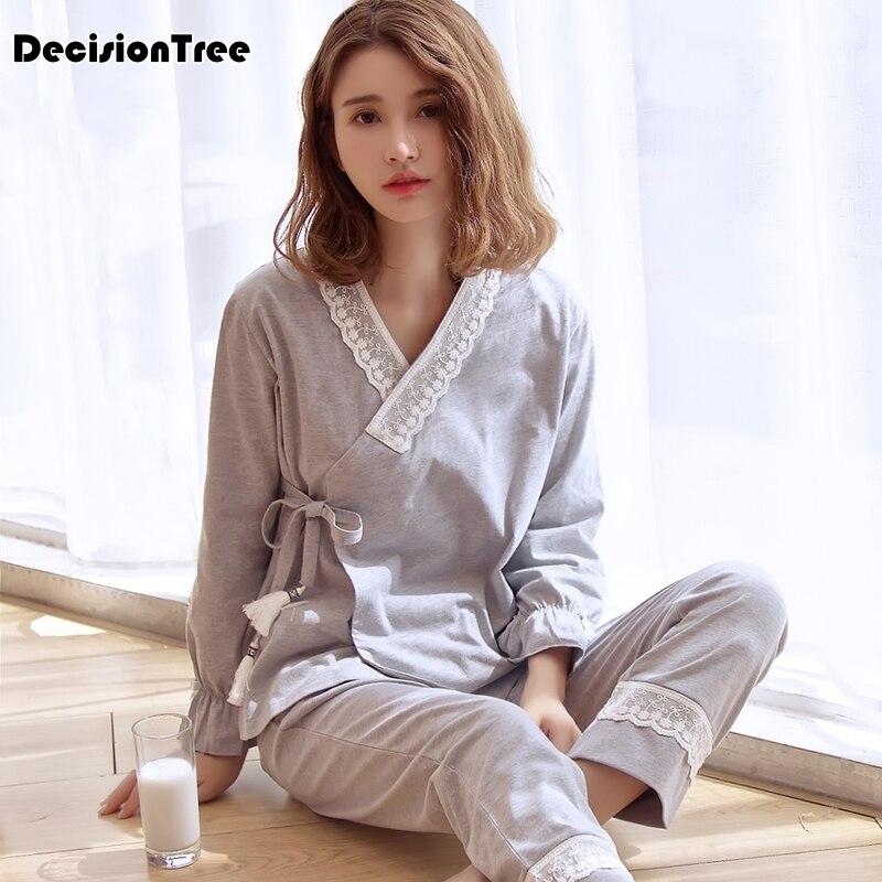 2018 winter 100% washed cotton kimono robe sets women lovers sexy stripes pajamas japanese sauna robes pyjamas women spa bathrob