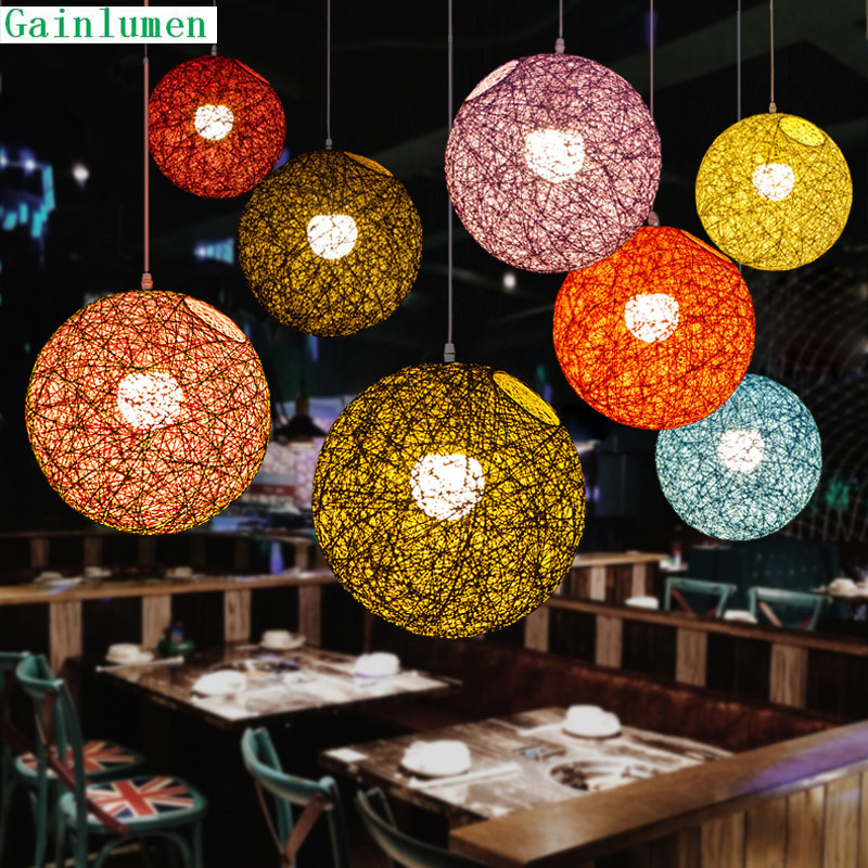 New Hot sale Restaurant Bar Cafe Bedroom Lamp Nordic Simple Knitting Wool Sesame Ball Chandelier Free Shipping hot sale caps echo657 new fashion men women knitting wool skullies pile folds tide beanies hat dec 22