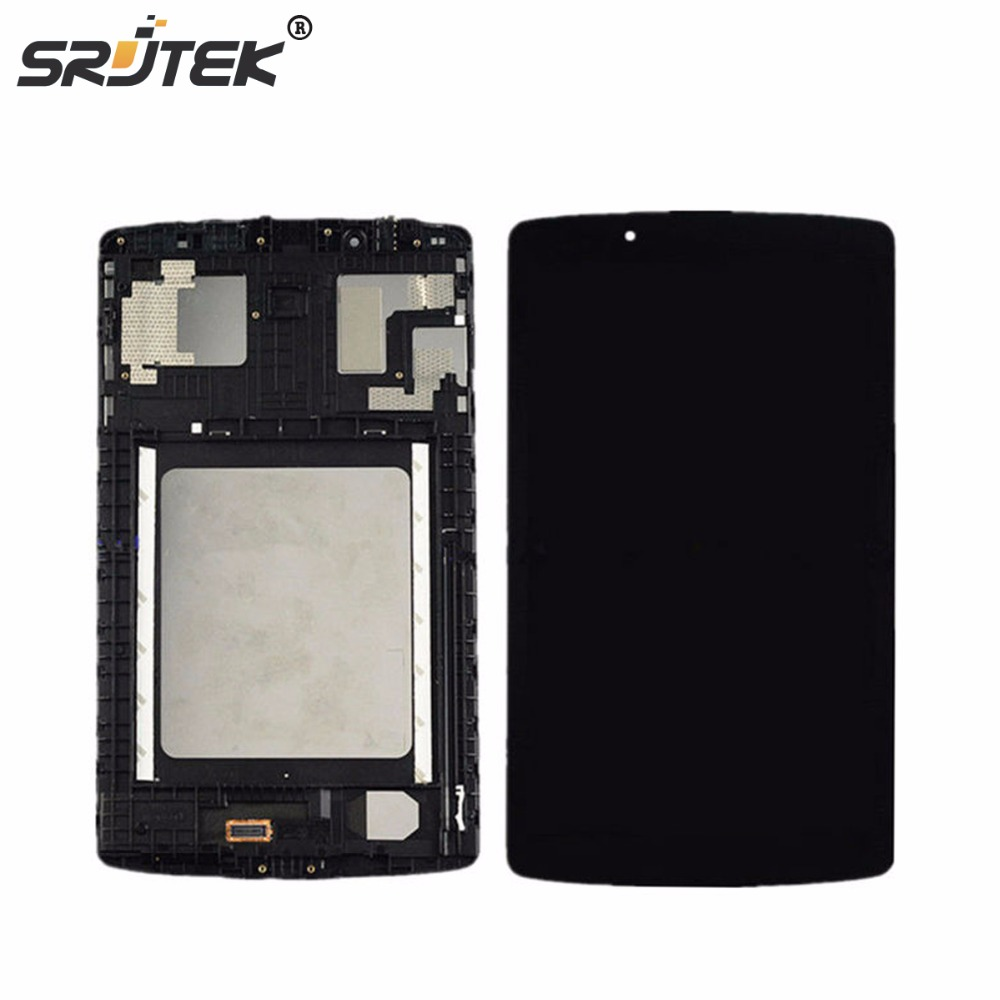 Srjtek 8 For LG G Pad F 8.0 V495 V496 LCD Display Matrix Touch Screen Digitizer Sensor Tablet Assembly with Frame Replacement original new lcd display touch screen digitizer assembly for lg g pad 8 3 v500 wifi replacement