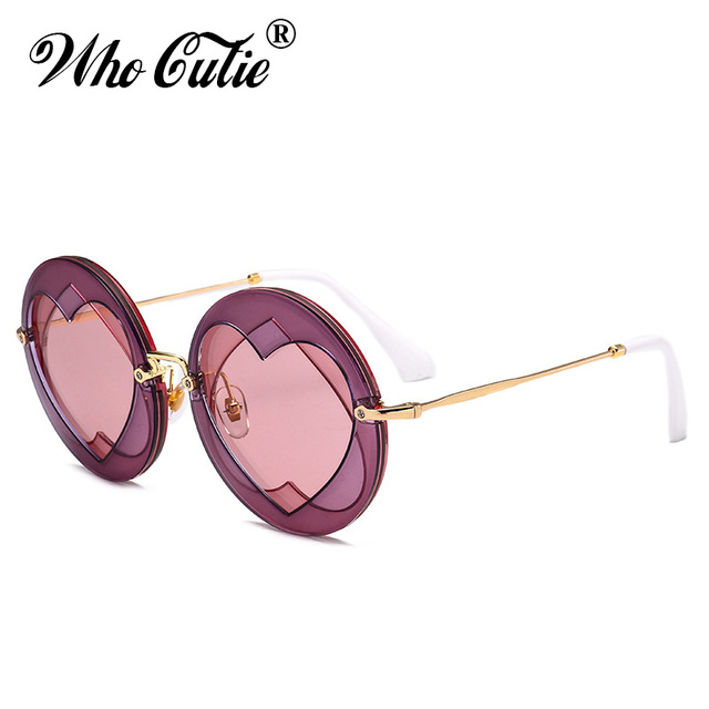 ffbdd38796 WHO CUTIE 2018 Catwalk Round Sunglasses Women Brand Designer Double Love  Heart Shaped Clear Lens Party Sun Glasses Shades OM394