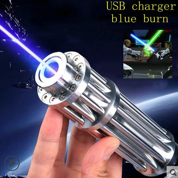 JSHFEI USB Pointeur Laser 445nm Classe IV Puissant Gatling Laser lampe de Poche Batterie Intégrée Allumette Brûlante/Brûler/bougie/ 500000 m