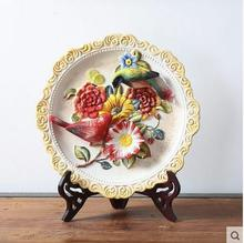12 Flowers relief decorative wall dishes porcelain plates ceramic home decro collectible figurine