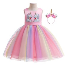 Unicorn Dress Girls Costume With Hair Band For Kids Party Cosplay Princess Dresses 2 3 4 5 6 7 8 9 10 Year