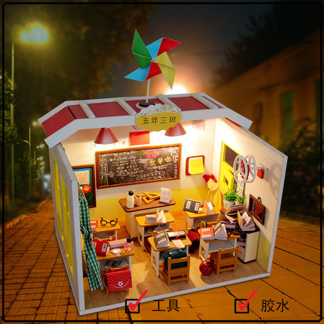 M017 Chinese Classroom Miniatura Wooden Doll House Furniture