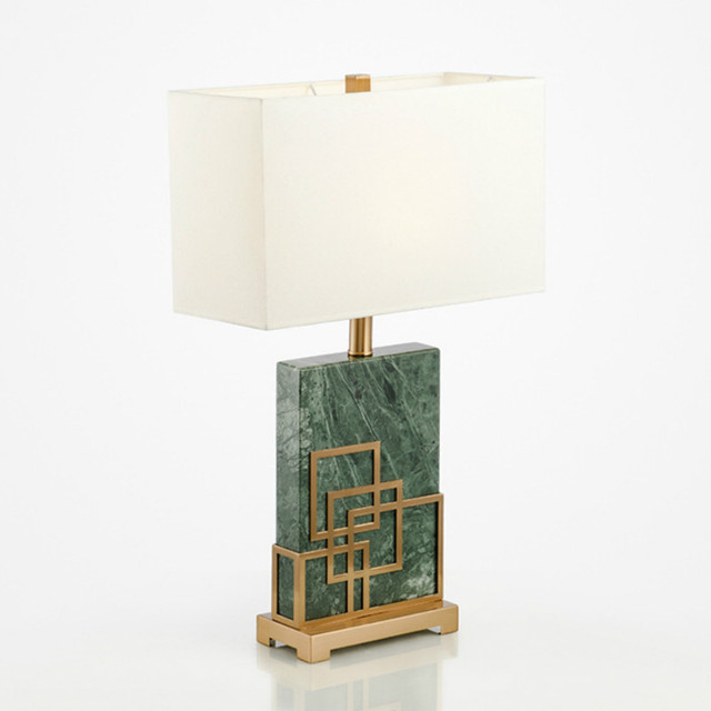 Post Modern Luxury Green Marble Fabric E27 Table Lamp For Living Room  Bedroom Model Room