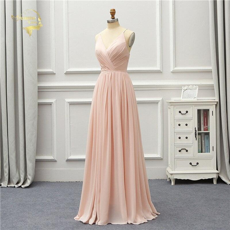 Chiffon   Bridesmaid     Dresses   Spaghetti Empire Wedding Guest   Dress   Backless Maid Of Honor Gowns 2019 Custom Made