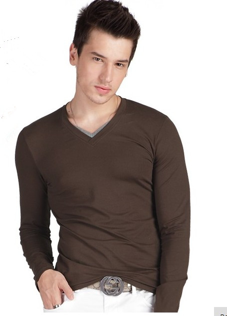 men underwear customize low waist T-shirt The four seasons in spring male slim V-neck long-sleeve T-shirt basic tight-fitting