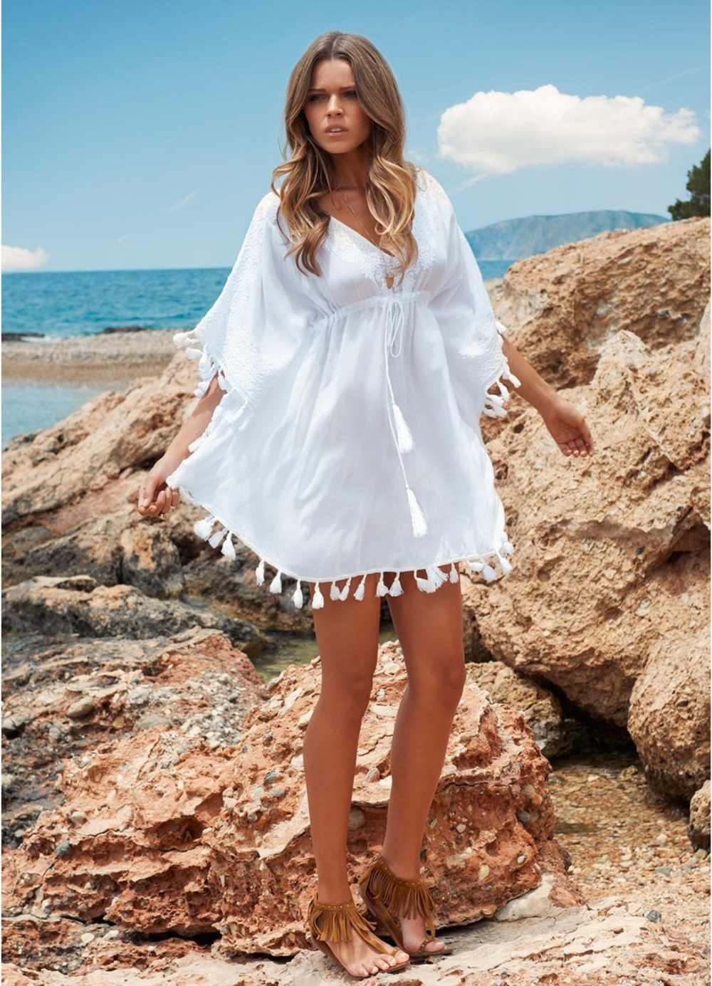 Women Sexy V Neck Beach Dress White Beach Dress Women Sexy White Bathing  Suit Outfit