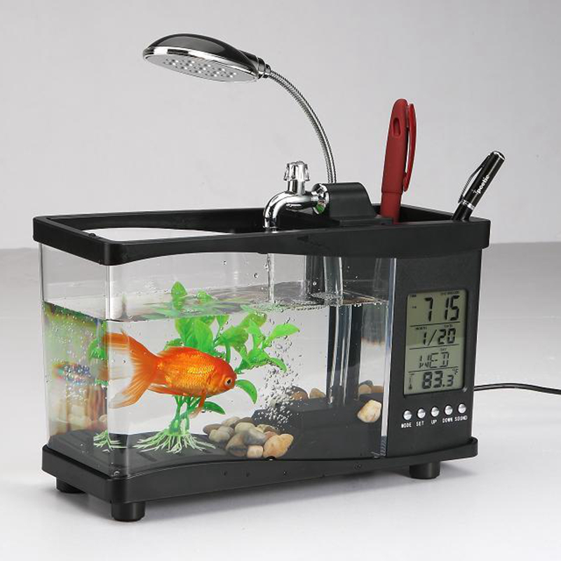 Usb alimentation de bureau aquarium avec réveil calendrier recirculation de l'eau porte-stylo aquarium
