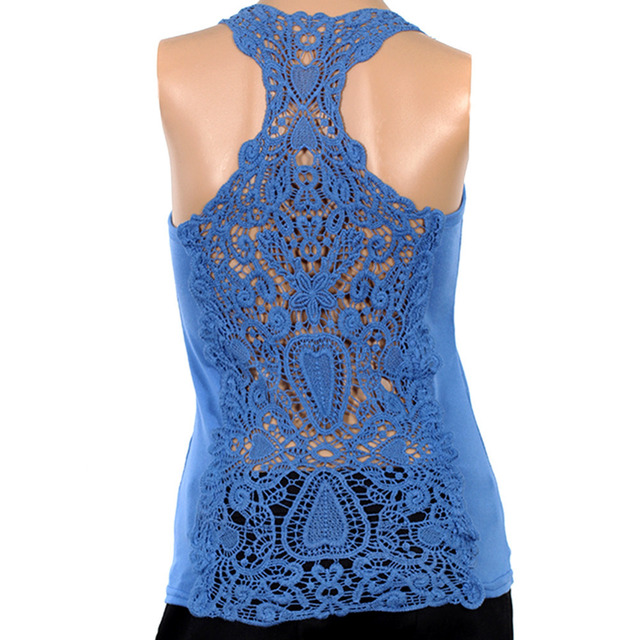 Best selling Korea Women's Tank Top Shirt Hollow-out Vest Waistcoat Camisole Pierced lace Free shipping   5123