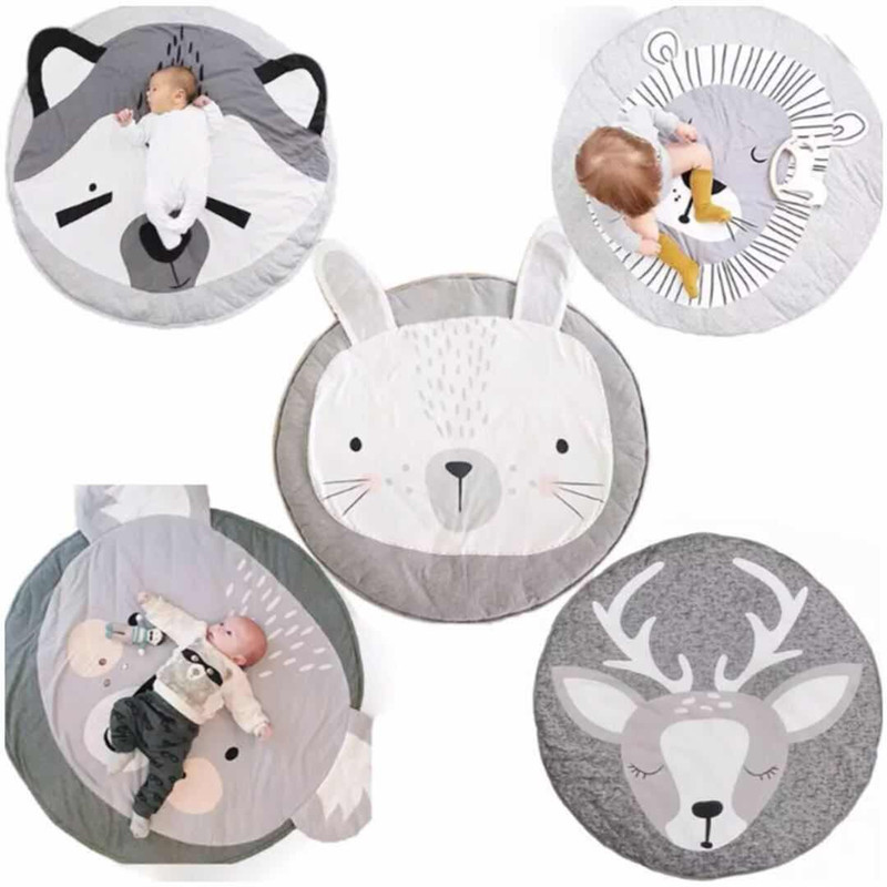 Baby Play Mats Cute Animal Climbing Carpet Baby Play Mats for Newborn Infant Cotton Rabbit Lion Koala Cat Bear Soft Sleeping Mat цена 2017