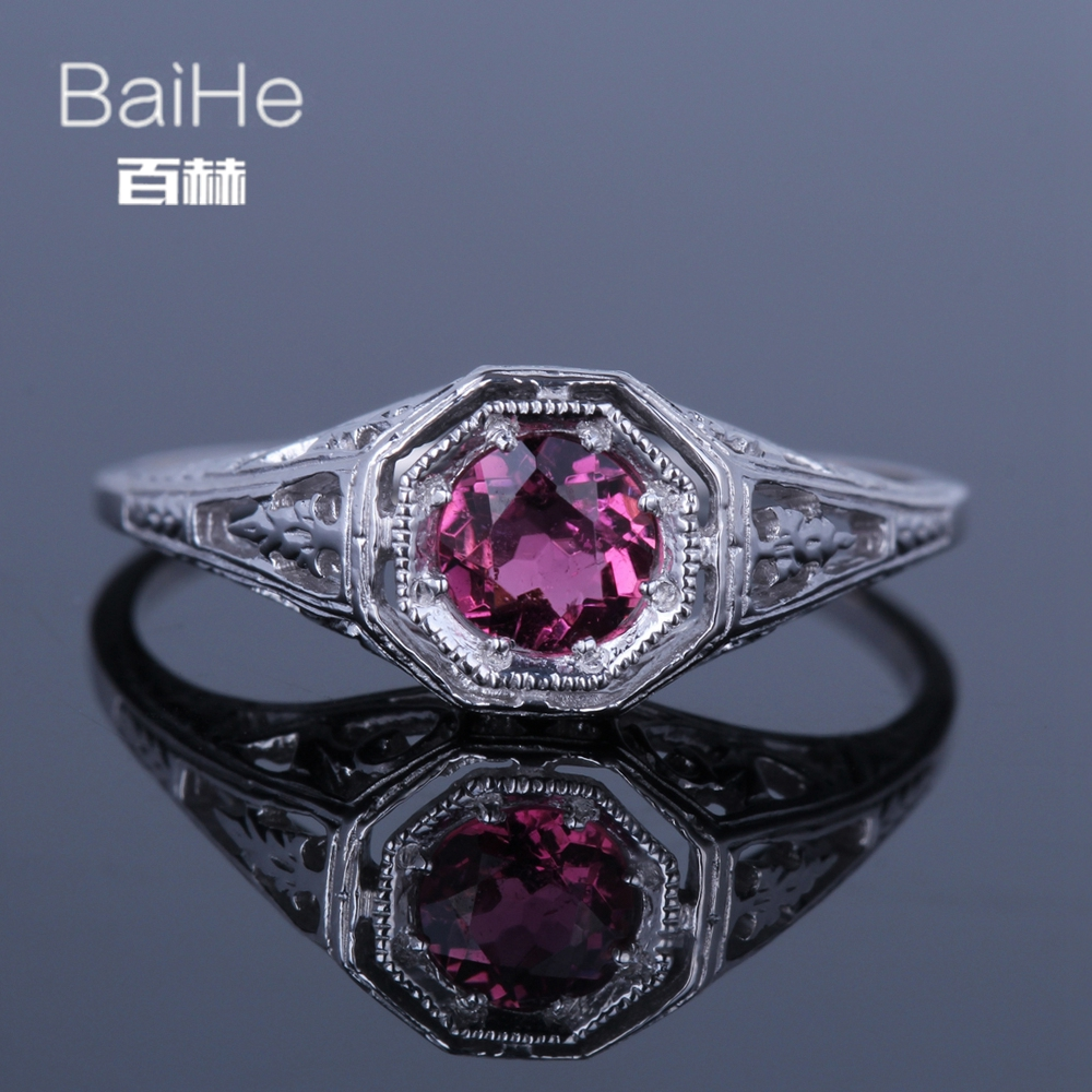 BAIHE Sterling Silver 925 0.4ct Certified Flawless 100% Genuine Tourmaline Engagement Women Office/career Fine Jewelry Ring