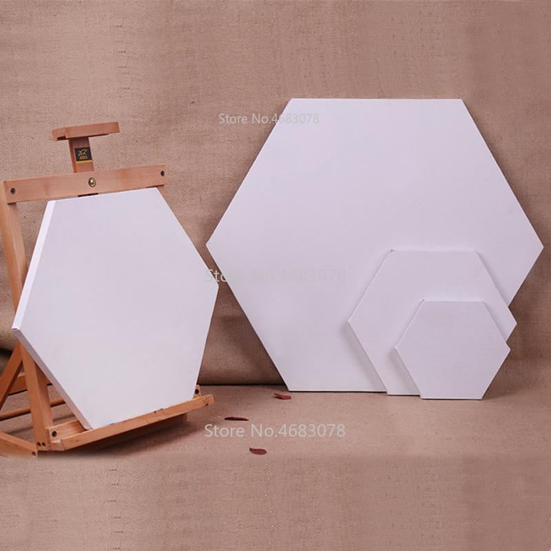 5Pieces Hexagon Cotton Wood Frame for Canvas Oil Painting Artist Painting Canvas Blank Cotton Canvas Panels Wholesale