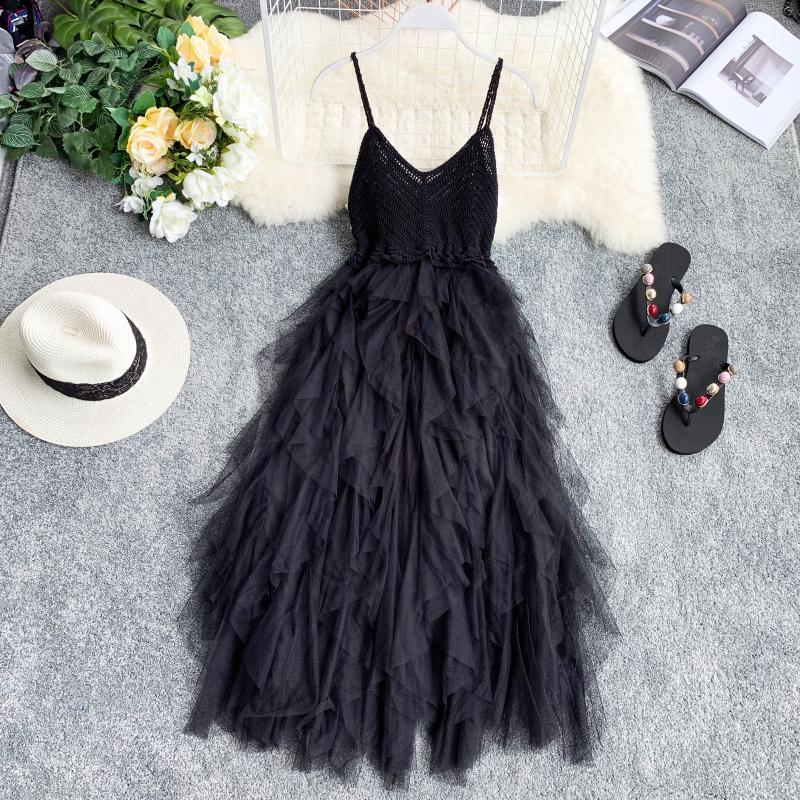 High Waist Mesh Hem Asymmetrical Pleated Tulle Dress 2