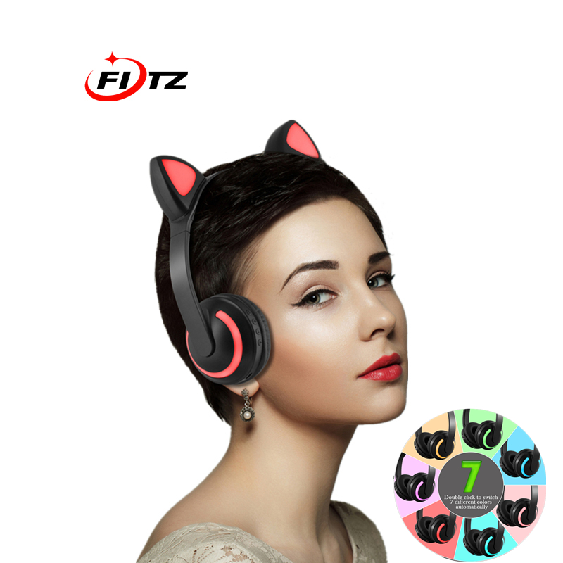 Cat Ear Headphones LED Headphone Cat Earphone Flashing Glowing Headset Gaming Earphones for Adult cosplay and Children Gift cartoon cat ear headphone flashing glowing cosplay cat ear headphones foldable gaming headsets earphone with mic for girl gift page 5