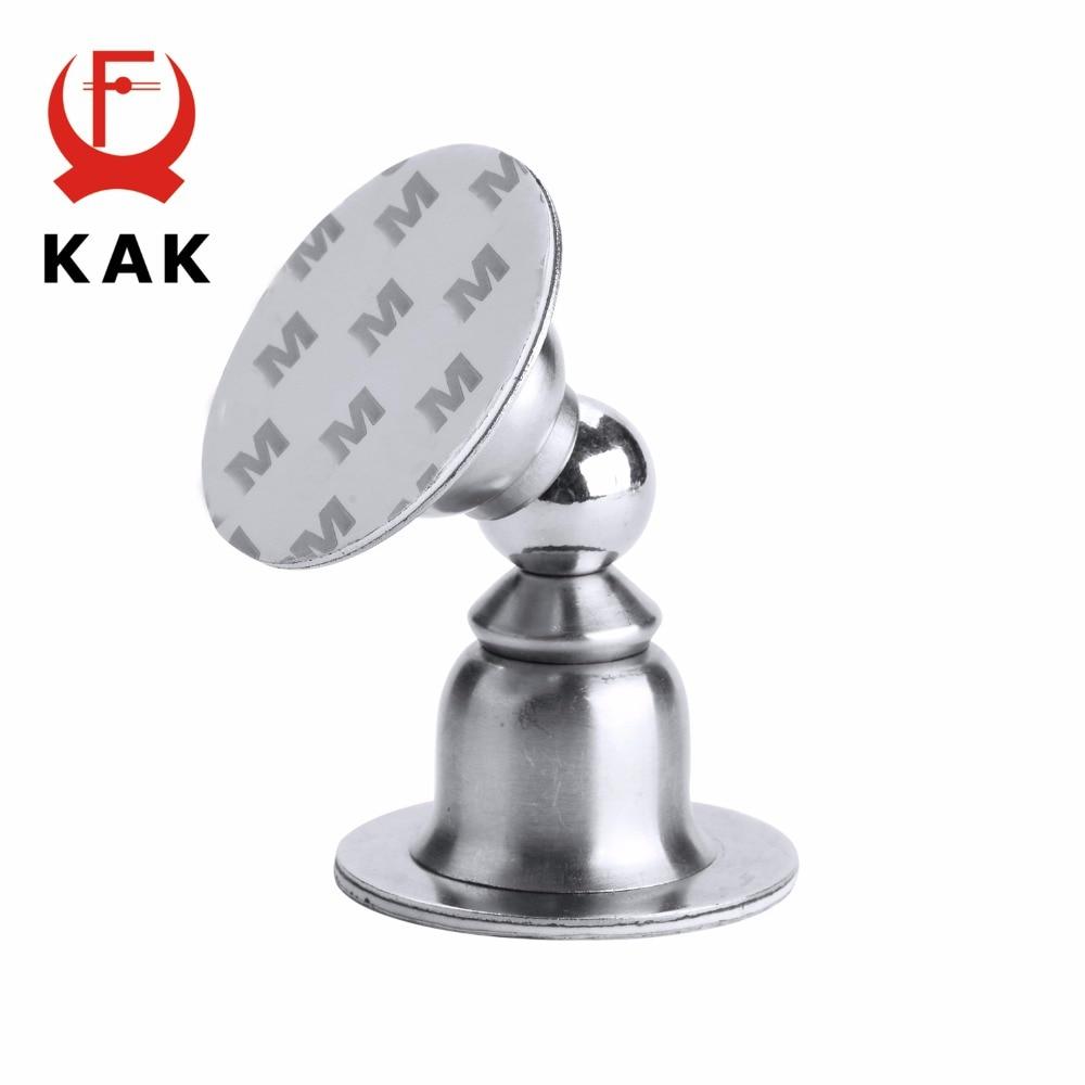 KAK Stainless Steel Magnetic Door Stopper Sticker Toilet Glass Hidden Door Holders Catch Floor Nail-free Doorstop Door Hardware