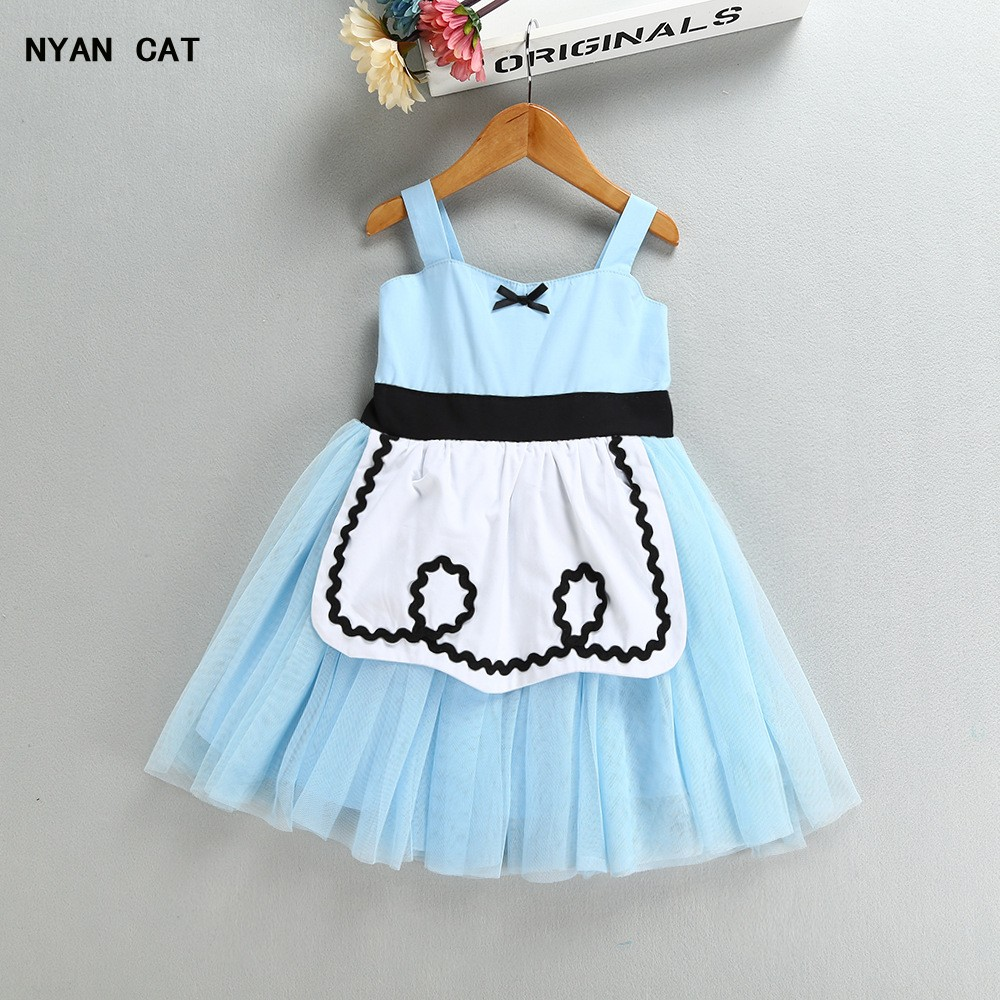 цена на EMS DHL Free Shipping toddler's Alice Cinderella tulle Dresses White Blue Baby Girls for Kids Princess Party Clothes Halloween