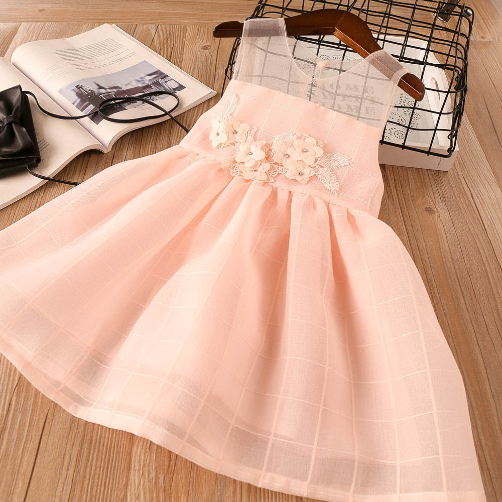 Girl Dresses Flowers Child Toddler Princess Tulle Dress Summer Childrens Party Dress Kids Wholesale Clothes Girls Ball Gown