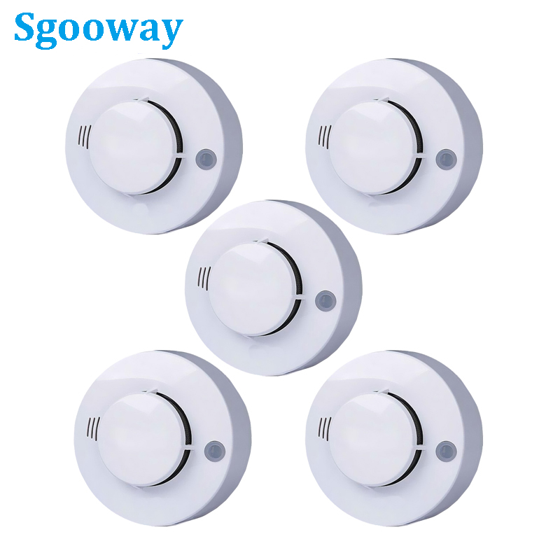 5 Pieces CE Photoelectric Smoke Detector Sensor Sgooway Wired Smoke Alarm Fire Alarm Free Shipping