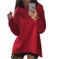 S XL Women Scarf Collar Long Sleeve Sweatshirts 2017 Fashion Casual Winter Spring Hoodies American Apparel