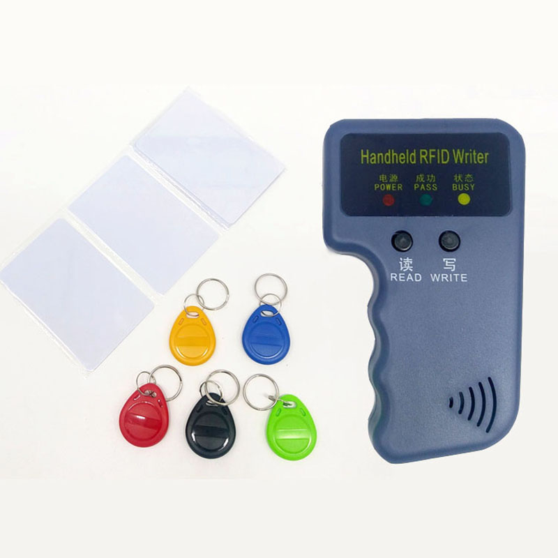 Handheld 125KHz EM4100 RFID Card Copier Writer Duplicator Programmer Reader + EM4305 T5577 Rewritable RFID Tag Keyfobs Cards
