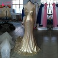 Mermaid Long Gold Sequins Evening Dress Fashion Style Backless Formal Evening Gown Prom Dresses vestido de baile longo Real