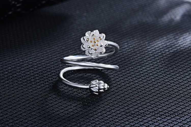 Os Recém-chegados 925 Esterlina Anéis de Prata Anéis Belas Jóias Para As Mulheres Anel de Flor de Lótus da Festa de Aniversário de Casamento de Qualidade Superior