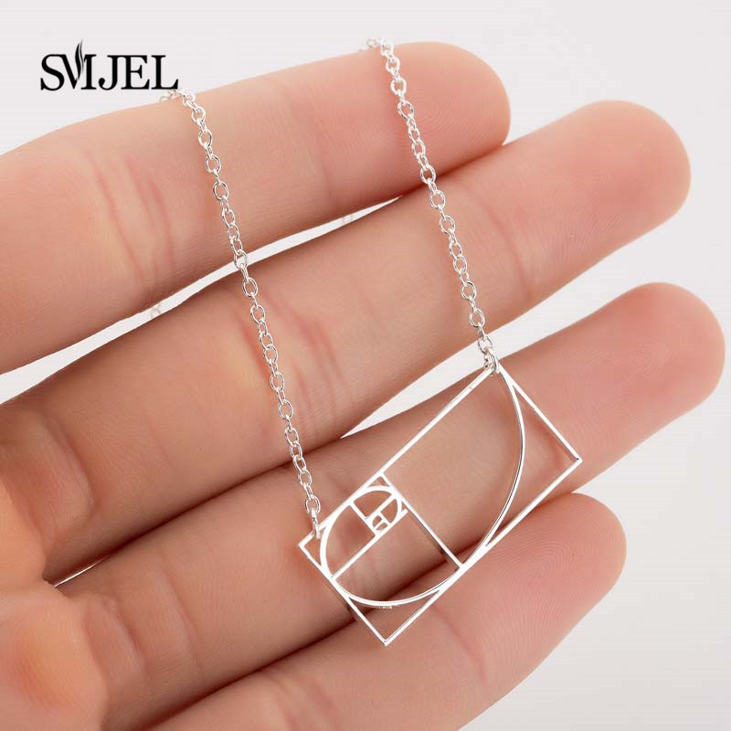 SMJEL New <font><b>Fibonacci</b></font> Necklace Link Chain Golden Ratio Necklaces for Women and Men School Graduation Gift moda mujer Jewelry image