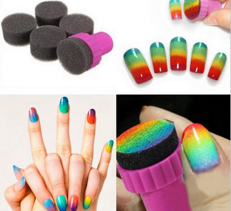 50PCS/Lot Nail Art Sponge Stamp Stamping Polish Template Transfer DIY Design Kit Deco (1Set Songe stamper+4pcs sponge)