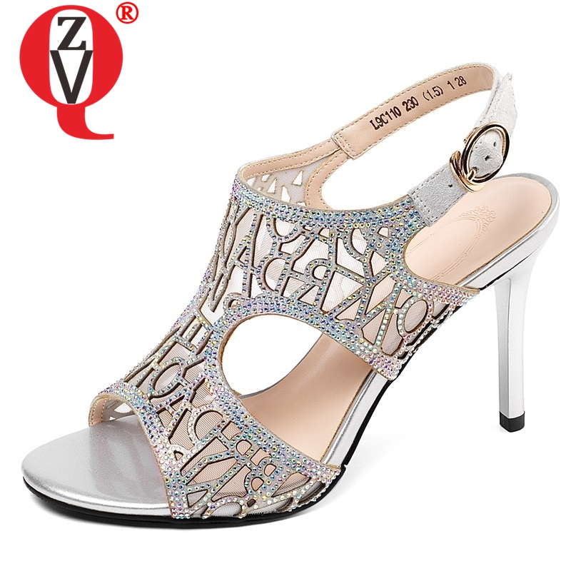 ZVQ shoes woman 2019 summer newest fashion sexy open toe crystal woman sandals outside super high
