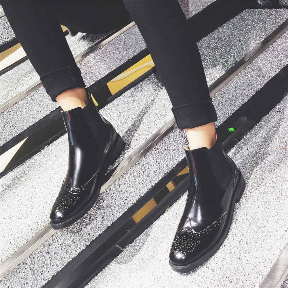 Vrouwen 2019 Brand design Big Size 45 lederen Enkellaars Vrouwen Schoenen mode brogue chelsea laarzen vrouwelijke schoenen vrouw