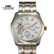 Top Brand TEVISE Lujo Tourbillon Reloj Mecánico Automático Relojes de Los Hombres Relojes Relogio masculino reloj Grande Del Dial Reloj de Acero