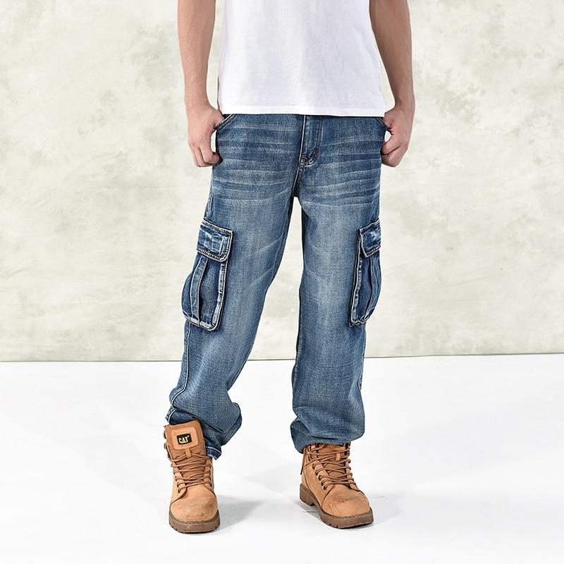 Fashion Men's Baggy Hip Hop Jeans  2019 Plus Size 30-46 Multi Pockets Skateboard Cargo Jeans For Men Tactical Denim Joggers